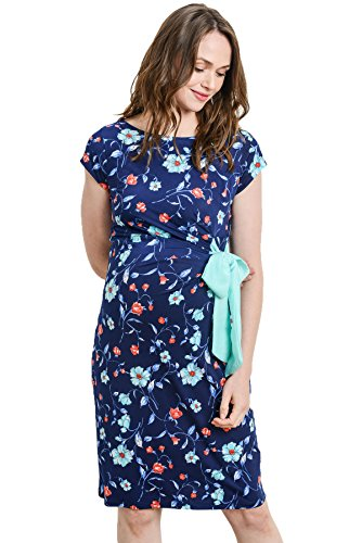 (Women's Cap Sleeve Maternity Dress with Adjustable Side Tie (Large,)