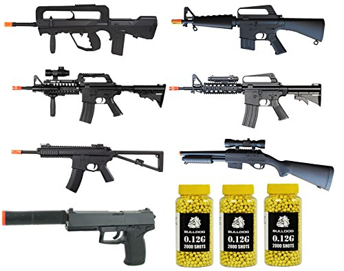 A&N Airsoft Spring Rifle & Pistol Bundle [5 Airsoft Rifles] 1 Airsoft Pistol [1 Airsoft Spring Shotgun] 6000 Bulldog 0.12g ()