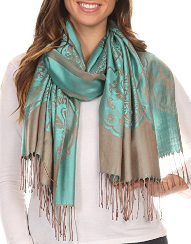 Sakkas 16116 - Maela Long Extra Wide Traditional Patterned Fringe Pashmina Shawl / Scarve - Turq / Grey - OS