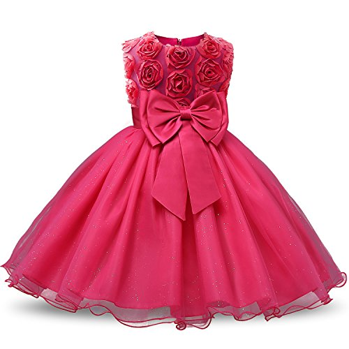 NNJXD Girl Sleeveless Lace 3D Flower Tutu Holiday Princess Dresses Size 3-4 Years Rose red -