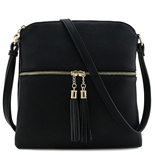 Tassel Zip Pocket Crossbody Bag (Black) - Black Fabric Tassel