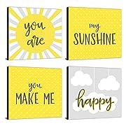 "You Are My Sunshine - Kids Room, Nursery & Home Decor - 11"" x 11"" Kids Wall Art - Set of 4 Prints"