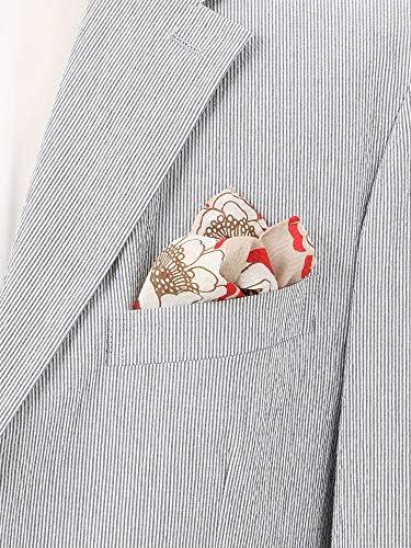 (ザ・スーツカンパニー) Daniel/フラワープリント シルクポケットチーフ ベージュ×ホワイト×レッド