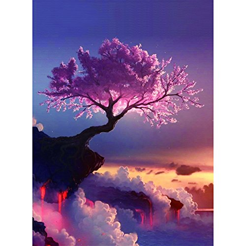 VANPOWER 5D DIY Diamond Painting - Cross Stitch Kit - Crystals Embroidery - Home Decor Craft (Cherry Blossom)