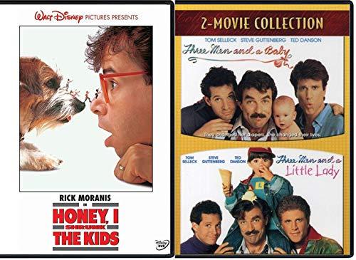Shrink Three Kids Men Baby 3 Classic Retro Fun DVD Family Pack Three Men & A Little Lady + Disney Honey I Shrunk the Kids Movie Collection