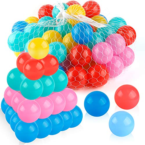 Coogam Pit Balls Pack of 50 - BPA Free 5 Color Hollow Soft Plastic Ball for Years Old Toddlers Baby Kids Birthday Pool Tent Party Favors Summer Water Bath Toy ( 6CM )