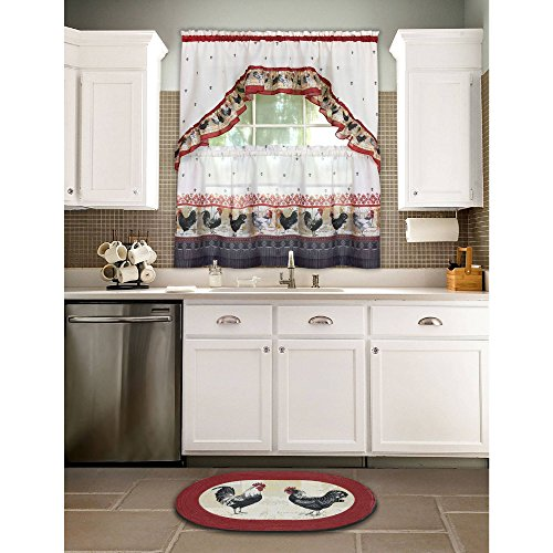 3 Piece Burgundy Grey Rooster Kitchen Tiers Swag Set 57 X 36 Inch, Red Color Chicken Kitchen Curtains Log Cabin Lodge Cottage Motif Window Treatment Morning Country Themed Traditional Rustic Polyester (Rooster Motif)