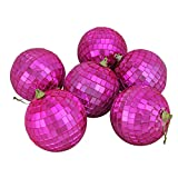 "6ct Bubblegum Pink Mirrored Glass Disco Ball Christmas Ornaments 3.25"" (80mm)"