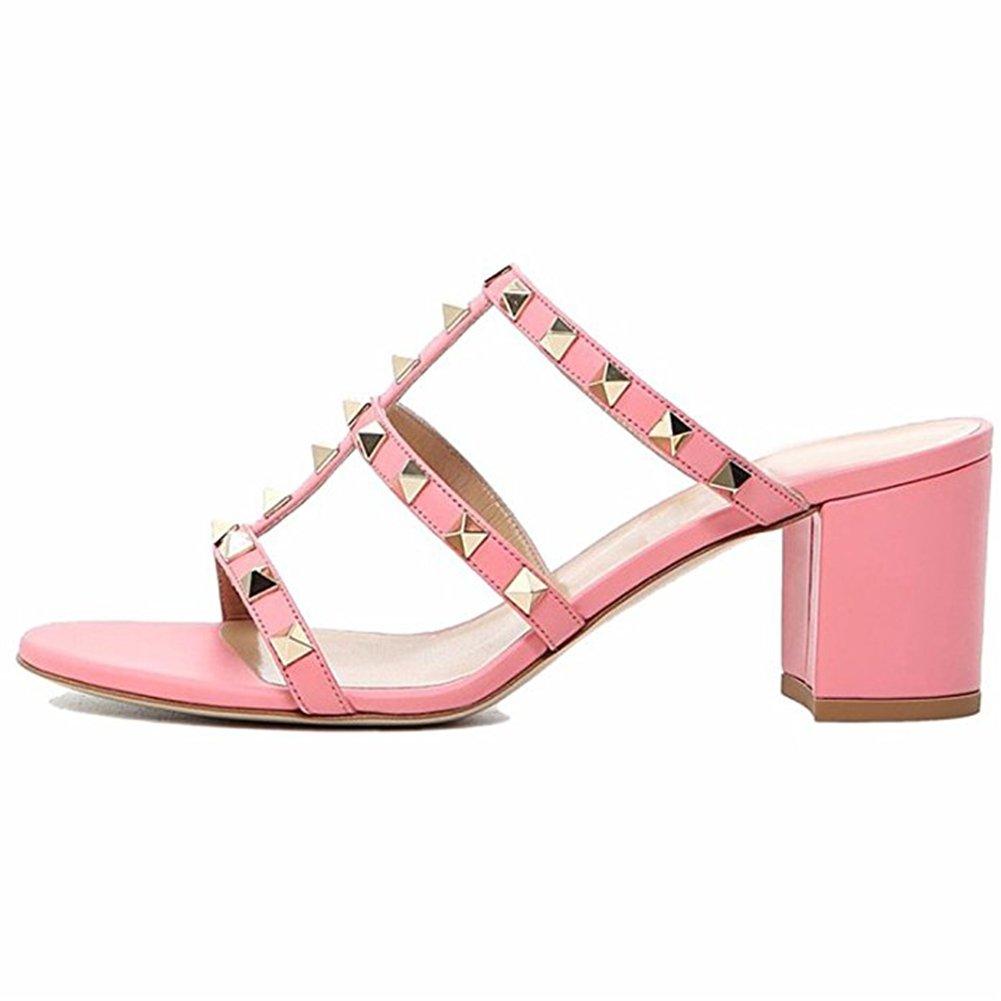 Chris-T Chunky Heels for Womens Studded Slipper Low Block Heel Sandals Open Toe Slide Studs Dress Pumps Sandals 5-14 US B07DH7XMGX 10 M US|Pink 5cm