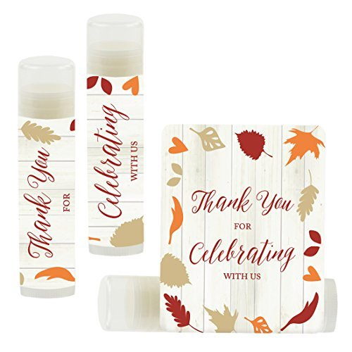 Andaz Press Bridal Shower Bachelorette Party Lip Balm Party Favors, Fallin' in Love Autumn Fall Leaves, Thank You for Celebrating with US, 12-Pack]()