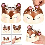 Deer Cake Squishy Toys Jumbo Prime Cheap, Kawaii Mochi Scented Non Toxic Healing Fun Charm Slow Rising Squishy Squeeze Stress Relief Toys For Kids Boys Girls Autism Adults (Brown)