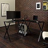 Walker Edison Furniture Company Modern Corner L Shaped Glass Computer Writing Gaming Gamer Command Center Workstation Desk Home Office, 51 Inch, White