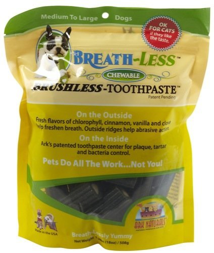 Ark Naturals Breath-Less Chewable Brushless-Toothpaste for Medium to Large Dogs 18 oz, My Pet Supplies