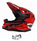 Kids Motocross Helmet 3GO XK-188 Rocky Cub Motorcycle Quad Pit Bike Off Road Racing Junior MX Red Helmet New Design + X1 White Goggles (M)