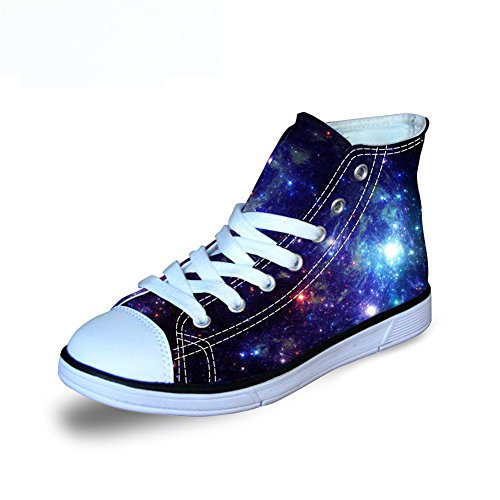 FOR U DESIGNS Cool Lovely Kids Classics Youth Canvas Casual Skate Galaxy Shoe High Top Lace Up Blue US 3