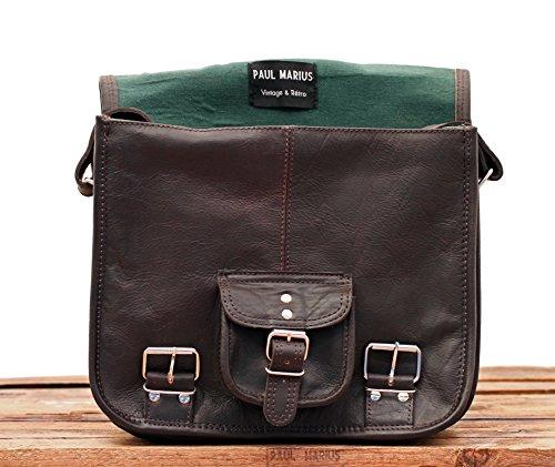 Vintage marron bolsa Bolso por vintage LE oscuro ciudad tamaño amp; PAUL CARTABLE la color S bandolera pequeño MARIUS estilo piel Retro de PffSHOqw