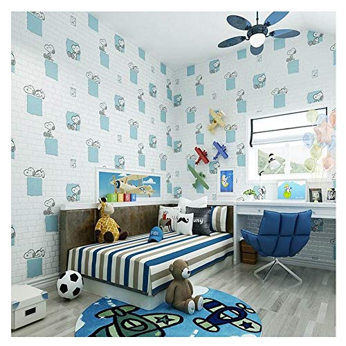 3D White Brick Wallpaper Cartoon Snoopy Children's Bedroom Maternity Store Pink Princess Room Wallpaper (#1091)