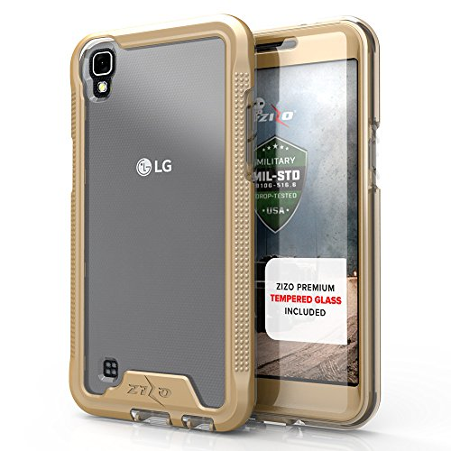 Zizo ION Series Compatible with LG X Power Case Military Grade Drop Tested with Tempered Glass Screen Protector LG X Power K210 Case Gold Clear
