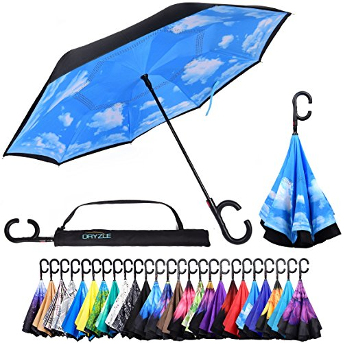Reverse Inverted Inside Out Umbrella - Upside Down UV Sun Protection Windproof Brella That Open Better Than Most Umbrellas, Reversible Folding Double Layer, Suitable for Golf, Car, Women and -