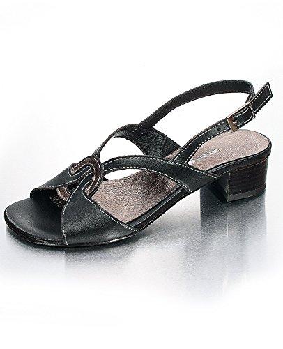 Marion Spath Damen 313-704 Glattleder City-Sandalette Schwarz/Bronce