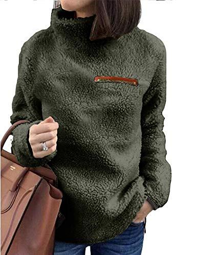 (Romanstii Sherpa Jacket Women Turtleneck Pullover Fleece Loose Sweatshirt Warm Outwear Casual Tunic Tops Blouses (Large, 1Green))