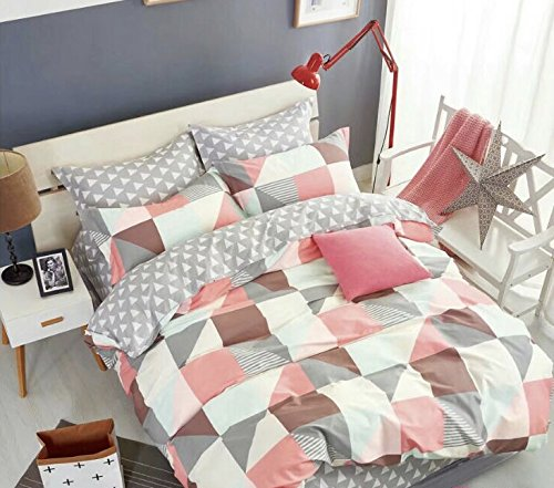 Funda Nordica King Size.Glimpz New 100 Cotton 200 Threads Reversible 4 Pieces Complete Duvet Cover Set Bedding Set Kingsize Pink Grey Squares