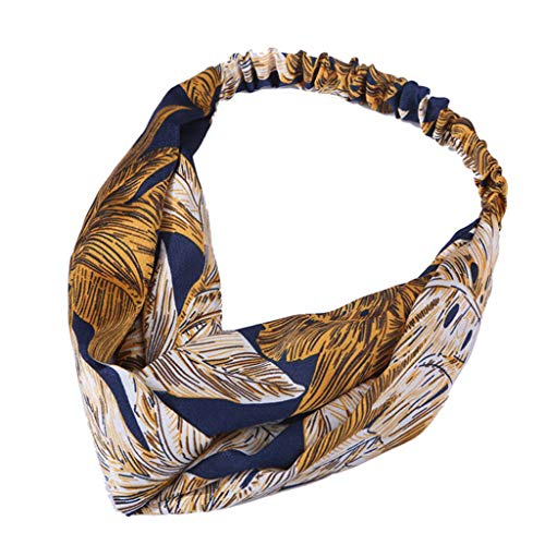 hositor Headbands for Women, Women Vintage Flower Printed Elastic Head Wrap Twisted Cute Hair Accessories Navy]()