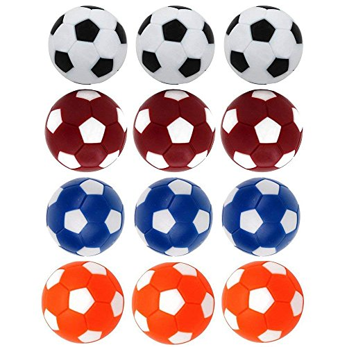 Best Foosball Tables - Qtimal Table Soccer Foosballs Replacement Balls, Mini Colorful 36mm Official Tabletop Game Ball - Set of 12