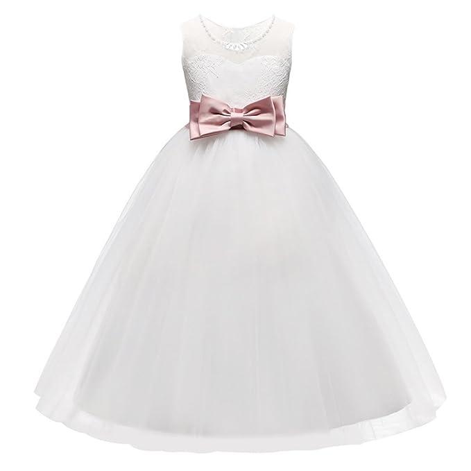 OuYou Vestido Tutu Elegante Boda Fiesta Ceremonia Con Pajarita Vestido Blanco de Princesa Para Niña Chica