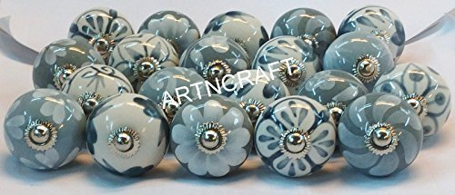 Artncraft 10 Knobs Grey & White Cream Hand Painted Ceramic Knobs Cabinet Drawer Pull Pulls