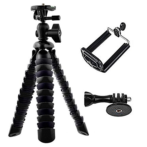 Flexible Leg (BlueWind 12-inch Flexible Tripod with Gopro Mount Adapter iPhone Clip Mount Tripod Adaptor Octopus Travel Tripod Holder for GoPro Hero 5/4 Apeman AKASO Action Camera/Smart Phone/Digital Camera Black)