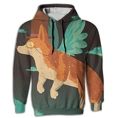 Nanihat Flying Corgi Pullover Pocket 3D Hooded Sweatshirt Winter For Outdoor Sports Comfortable Sweater Travel Fit Unisex L
