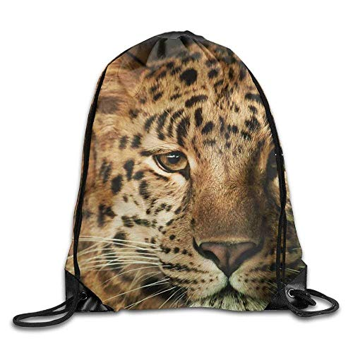 Dicobrune Unisex Drawstring Backpack, Unisex Leopard Face Print Drawstring Backpack Rucksack Shoulder Bags Gym Bags Sport Bag
