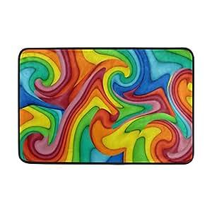 colourlife 23,6x 15,7pulgadas ligero interior y exterior Felpudo entrada felpudos Alfombras antideslizantes para cocina, baño, entrada forma arco iris colorido abstracto patrón