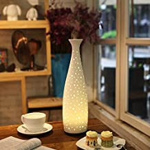 Joly Joy Essential Oil Diffuser, Vase Ultrasonic Aroma Scent Diffusers 110ml Water-less Auto Off Aromatherapy Humidifier Home Decorative (White Ceramic Vase)