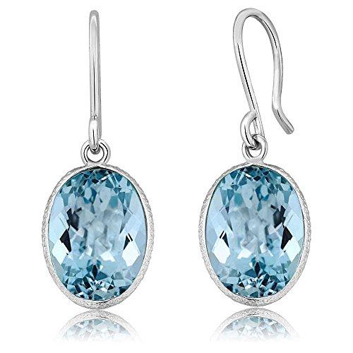 Gem Stone King 14.00 Ct Blue Topaz 10X14MM Oval Shape 925 Sterling Silver Dangle Earrings