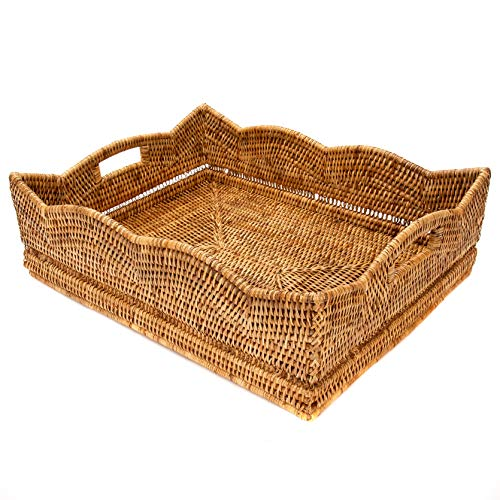 Artifacts Trading Company Rattan Scallop Deep Rectangle Tray, 20