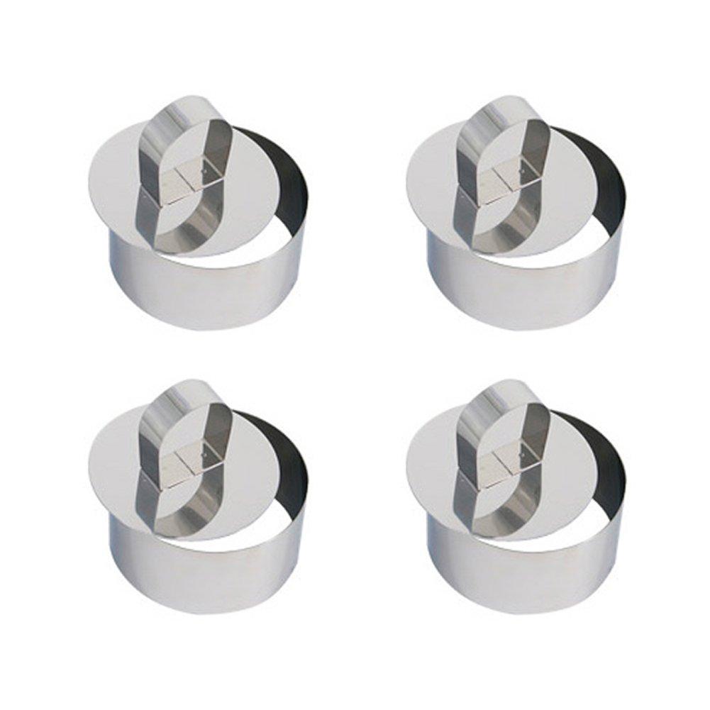 Jungen, stampo ad anello per cottura e presentazione dei cibi in acciaio inox, 4pezzi, con 4anelli e 4coppapasta Round 4pezzi
