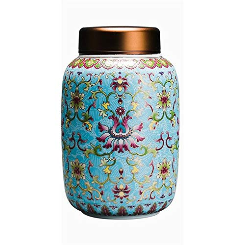 (LSX-Pet Commemoration Pet urn Altar New Handmade Enamel urn Box Painted pet urn Box Animal Memorial Tank OYO (Color : Blue))