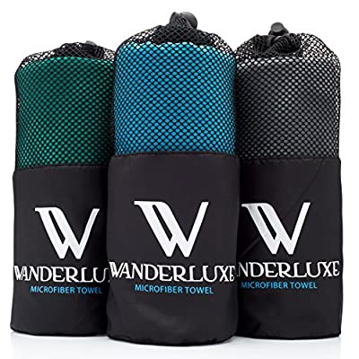 Wanderluxe Microfiber Towel, 60 X 28-Inches with Hand Towel & Storage Bag