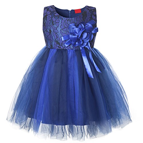 Christening Dress Satin Tulle (CIELARKO Baby Girls Dress Lace Flower Infant Christening Party Dresses for 3-24 Months (Navy, 13-18 Months))