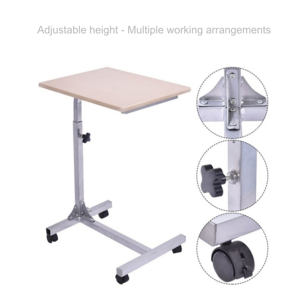 Laptop Notebook Smartphone Table Stand Portable Rolling Carts Height Adjustable Living Room Swivel Tray School Home Office Furniture - Walnut #1824