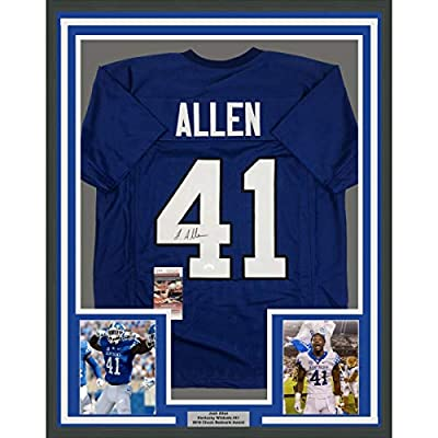 Framed Autographed/Signed Josh Allen 33x42 Kentucky Blue College Football Jersey JSA COA