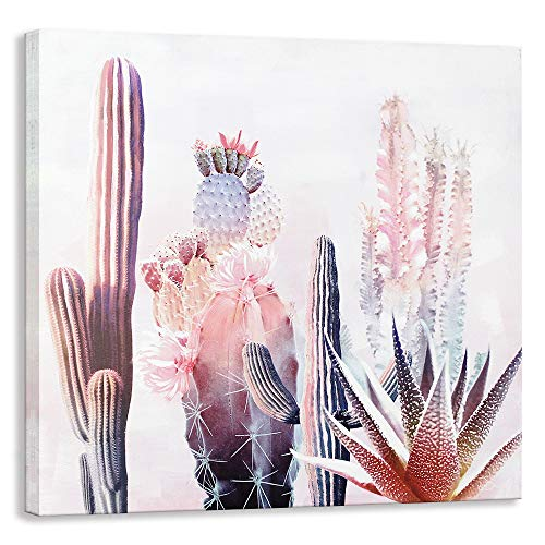 Canvas Cactus Wall Art, [Hand Painted + Giclee Artwork] Framed Plant Floral Oil Painting Modern Pink Watercolor Canvas Prints for Living Room Bedroom Office Home Wall Decoration (24 X 24 inch)