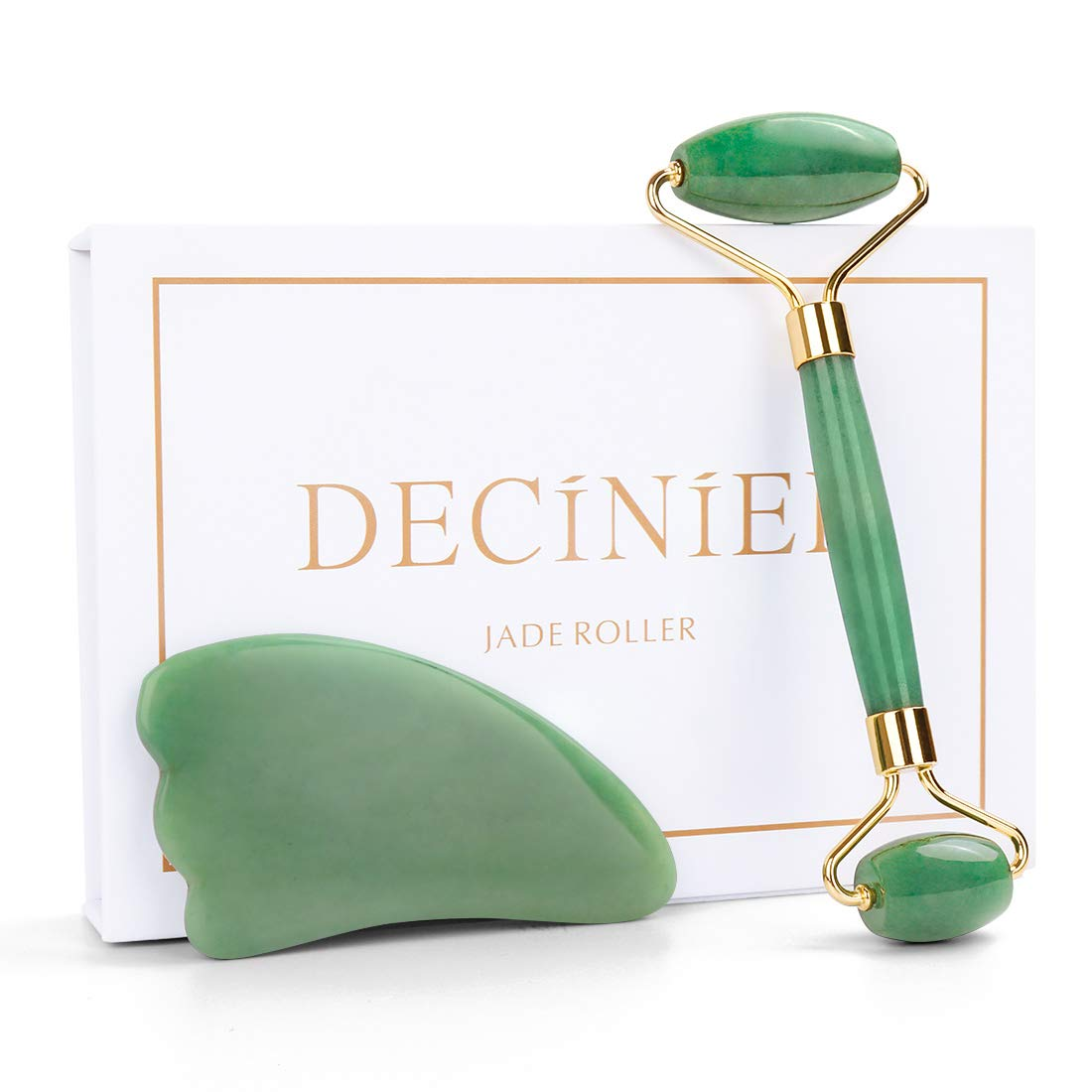 Deciniee Jade Roller and Gua Sha Tools Set - 100% Real Natural Nephrite Jade Roller for Face, Eye, Neck - Anti Aging Jade Facial Roller Massager for Slimming & Firming - Rejuvenate Skin by Deciniee