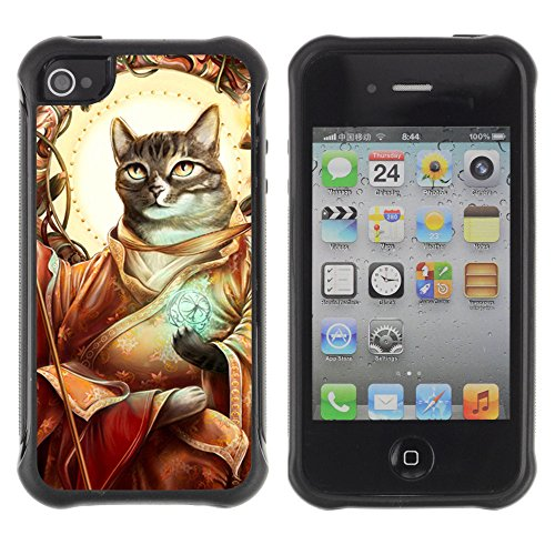 ZAKO Cases / Apple Iphone 4 / 4S / Cat Messiah / Robuste Antichoc Coverture Shell Armure Coque Coq Cas Etui Housse Case Cover Slim Armor