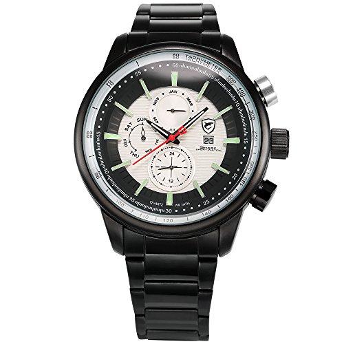 Date Watch Quartz Day (HELMASK watch - Stainless Steel 304 Black Round man mens men boy Analog Date Day Month 24hour 2 time zone quartz Wrist Watch)