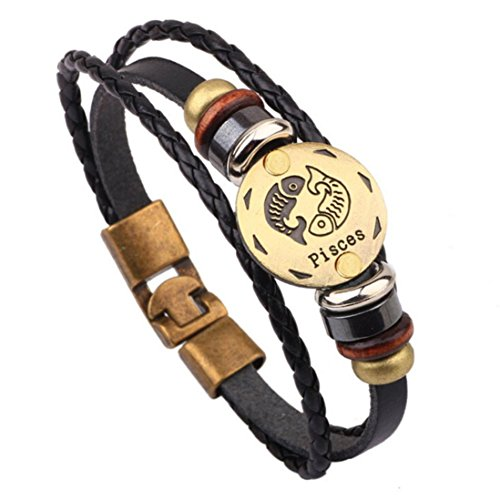 HIRIRI Hot Sale Unisex 12 Constellations Bracelet Fashion Jewelry Alloy Leather Bracelet Personality Bracelet Gift (Pisces)