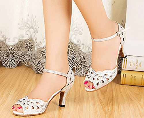 TDA Womens Comfort Cut-out Crystal High Heel Salsa Tango Ballroom Latin Dance Wedding Party Shoes White MAgxU6