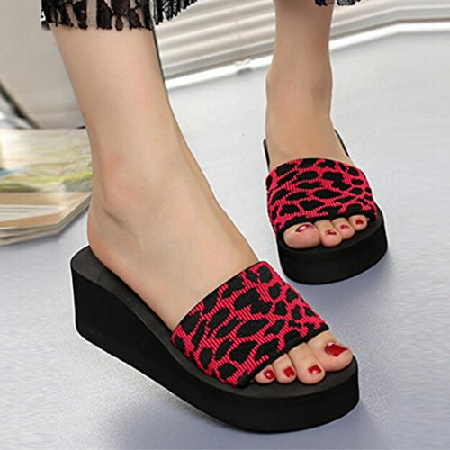 Women Summer Flops Shoes Beach Slipper HLHN Wedge Slope Leopard Platform Sandals Sexy Red Heel gAxqw7d